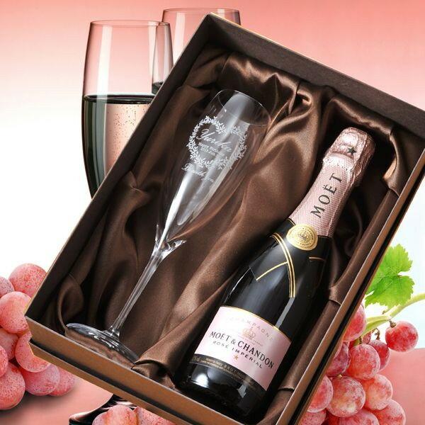 【名入れ専門】【名入れ プレゼント】【 酒 】【 ワイン 】 モエ・エ・シャンドン ロゼ  375ml &シャンパングラス