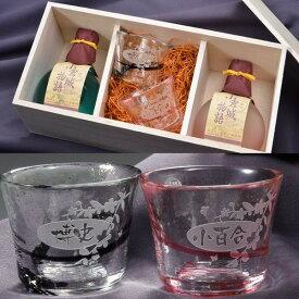 【名入れ プレゼント】小倉城物語 吟醸酒 180ml2点&津軽びいどろ冷酒グラス2点セット
