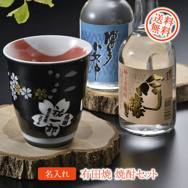 【名入れ プレゼント】【 酒 】 有田焼陶器カップ 赤富士 焼酎カップ&焼酎セット
