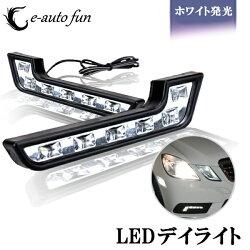 LEDデイライトホワイトLED点灯ユーロベンツW212風デイライト計12連2本セット
