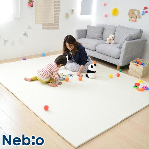 【キッズパークに最適サイズ】プレイマット 折りたたみ 大判 ホワイト マット キッズマット ベビーマット 簡単組立 ベビー 防水 プレット Plet ネビオ Nebio#RV
