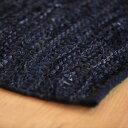 ラグ マット 絨毯 レザー ダリー 40x60cm ブラック おしゃれ 輸入 カーペット 【コットン】 【キリム】 【小さめ】 【玄関マット】r_leath_bk6040