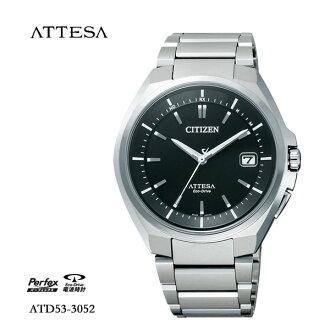 5年保证居民西铁城atessa ATTESA环保开车兜风电波钟表手表人ATD53-3052