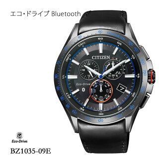 5年保证环保开车兜风Bluetooth BZ1035-09E居民西铁城皮革带人手表