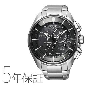 環保開車兜風Bluetooth BZ1041-57E居民西鐵城智能表鈦帶計時儀黑黑色環保·開車兜風人手錶