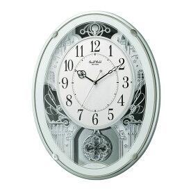 からくり時計 リズム 電波時計 飾り振り子付き掛け時計 掛時計 メロディ スモールワールドプラウド グリーン 4MN523RH05 クロック CLOCK