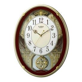 からくり時計 リズム 電波時計 飾り振り子付き掛け時計 掛時計 メロディ スモールワールドプラウド ブラウン 4MN523RH06 クロック
