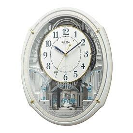 からくり時計 リズム 電波時計 回転飾り付き掛け時計 掛時計 メロディ スモールワールドアルディN 4MN553RH03 クロック CLOCK 音楽 仕掛け スワロフスキー使用