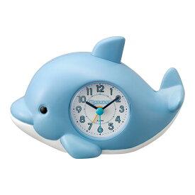 目覚まし時計 起きてイルカ?SR 4SE553SR04 リズム時計 | 置き時計 置時計 めざまし時計 クオーツ クロック キャラクター イルカ 名入れ 誕生日 プレゼント 新入園 新入学 子供 こども