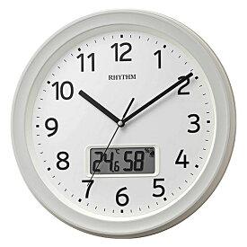 リズム時計 電波掛時計 温湿度計付 フィットウェーブリブA02 ホワイト 白 シンプル 電波時計 8FYA02SR03