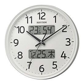 リズム時計 電波時計 掛け時計 電波掛け時計 温湿度計付 フィットウェーブリブA03 シルバー 8FYA03SR03