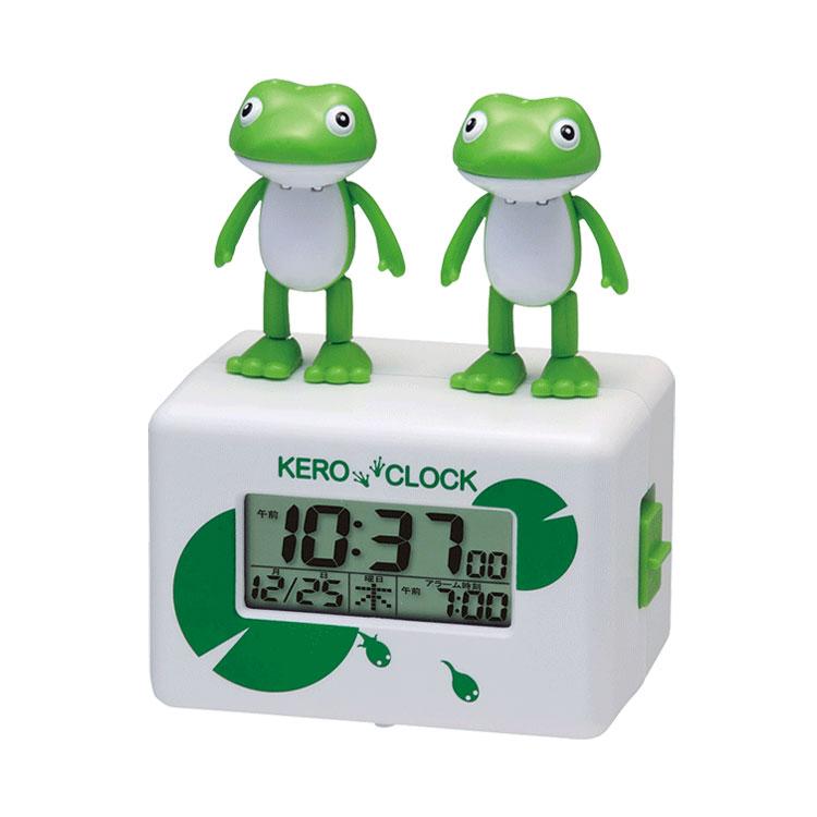 ケロクロック2 カレンダー付 目覚まし時計 8RDA46RH03 かえる 置き時計 めざまし カエル 面白い かわいい 子供 キッズ 個性的