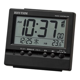 リズム時計 電波時計 電波置時計 置き時計 目覚まし時計 フィットウェーブヴィスタ 黒 8RZ201SR02