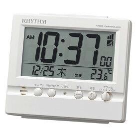 リズム時計 電波時計 電波置時計 置き時計 目覚まし時計 フィットウェーブヴィスタ 白 8RZ201SR03 シンプル デジタル