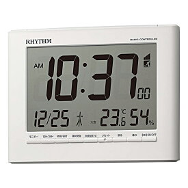 リズム時計 目覚まし時計 電波時計 掛時計 置き時計 掛置兼用 温湿度計付 フィットウェーブD203 8RZ203SR03