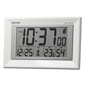 リズム時計 目覚まし時計 電波時計 掛時計 置き時計 掛置兼用 温湿度計付 フィットウェーブD204 8RZ204SR03