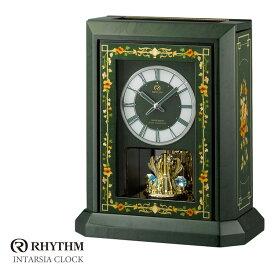 リズム時計 高感度電波時計 置時計 オルゴール 花柄象嵌細工 インタルシア 日本製 RHG-R07 4RN433HG05 お取り寄せ