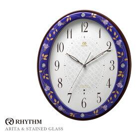 リズム時計 電波時計 掛け時計 有田焼 日本製 ルリ薔薇485 8MY485HG04 お取り寄せ
