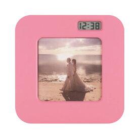 ましかくフォトフレームクロック 写真立て 置き時計 ピンク かわいい ADDESO アデッソ 大量注文可能 名入れ MS-01PK