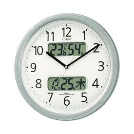 シチズン CITIZEN リズム時計 4FYA01-019 電波時計 掛け時計 カレンダー表示 温度計・湿度計機能 シルバー シンプル