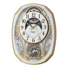 リズム時計 4MN551RH03 電波からくり時計 スモールワールドノエルS メロディ スワロフスキー お城 電波時計