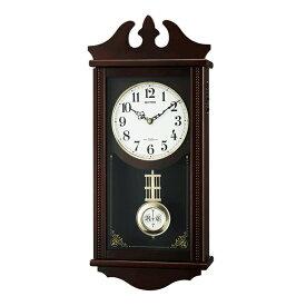 リズム時計 4MNA03RH06 電波掛け時計 木製 ペデルセンR 柱時計 電波時計 飾り振り子時計 クラシック