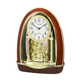 シチズン CITIZEN リズム時計 4RN414-023 電波置き時計 エレガント メロディ内蔵 スワロフスキー使用 電波時計 ゴールド 金色 お取り寄せ