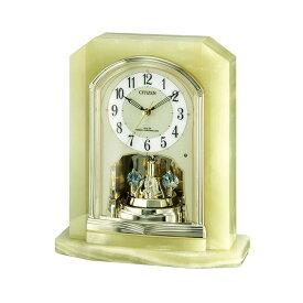 シチズン CITIZEN リズム時計 4RY691-005 電波置き時計 オニックス スワロフスキー付き回転飾り 角型 オニキス 置時計 電波時計 クラシック お取り寄せ