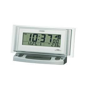 シチズン CITIZEN リズム時計 8RZ102-019 デジタル電波目覚まし時計 置き時計 めざまし 電波時計 置時計 シルバー