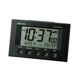 リズム時計 電波時計 電波目覚まし時計 スヌーズ機能 温・湿度計付き 電子音 デジタル 8RZ166SR02