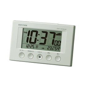 リズム時計 電波時計 電波目覚まし時計 スヌーズ機能 温・湿度計付き 電子音 デジタル 8RZ166SR03