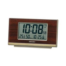 セイコー SEIKO 目覚まし時計 置き時計 電波時計 木目調 デジタル レトロ 温度・湿度表示 SQ793B インテリア時計 お取り寄せ