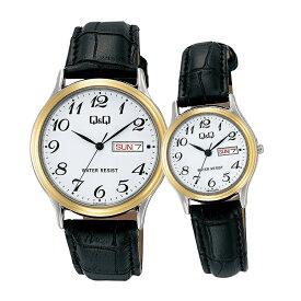 ペアウォッチ ペアセット Q&Q ペア 腕時計 アナログ 合成皮革バンド 防水機能 アラビア数字 黒 ブラック キューアンドキュー A204-504/A205-504 シチズン 取り寄せ SPAIR0042