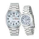 ペアウォッチ ペアセット Q&Q ペア 腕時計 アナログ ステンレスバンド 10気圧防水 アラビア数字 キューアンドキュー H…