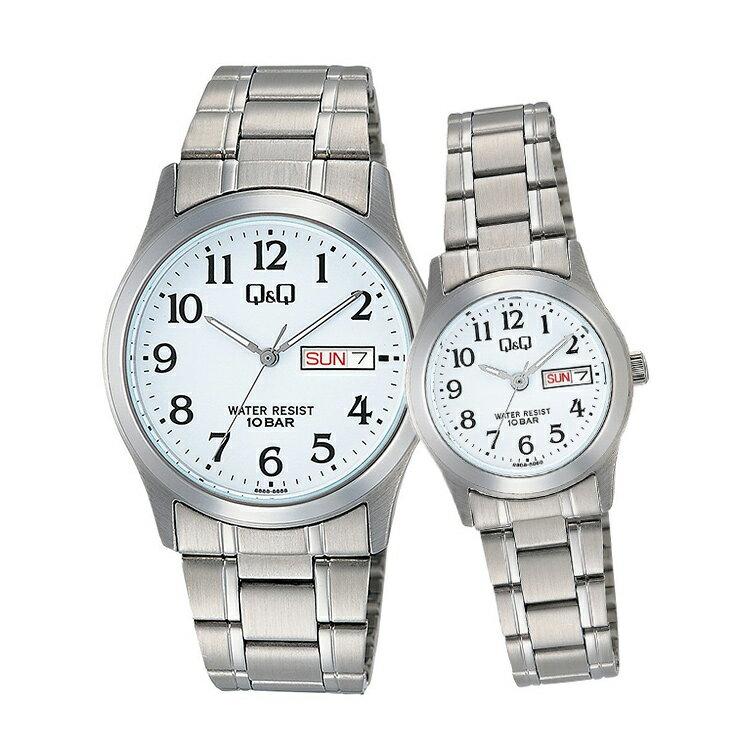 ペアウォッチ ペアセット Q&Q ペア 腕時計 アナログ ステンレスバンド メタルバンド 10気圧防水 キューアンドキュー W472-204/W473-204 シチズン 取り寄せ SPAIR0066