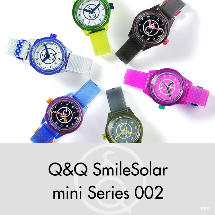Q&Q キューアンドキュー Smile Solar mini 002 スマイルソーラーミニ シチズン 腕時計 レディース 10気圧防水 ネオンカラー スケルトン ビビットカラー SS2