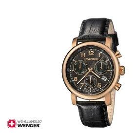 Wenger ウェンガー 腕時計 ウォッチ メンズ アーバンクラシッククロノ URBAN CLASSIC CHRONO 01.1043.107 黒 ブラック オールブラック 革バンド 革ベルト 黒革 レザー スイス