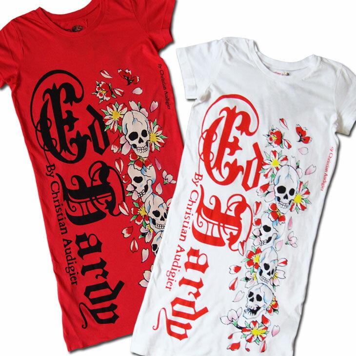 【Ed Hardy取扱い記念特価!】 ≪正規品≫ エド・ハーディー (Ed Hardy) - レディース(スカル×桜)デザインT-シャツ 【シャツ / Tシャツ】【Scull/桜】【レディース】【メール便不可】【あす楽対応】