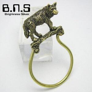 金色の狼、オオカミキーリング ブラス 真鍮(キーホルダー、キーチェーン、鍵、ウルフ、おおかみ、wolf、動物、犬、シベリアンハスキー、アラスカンマラミュート、シェパード)