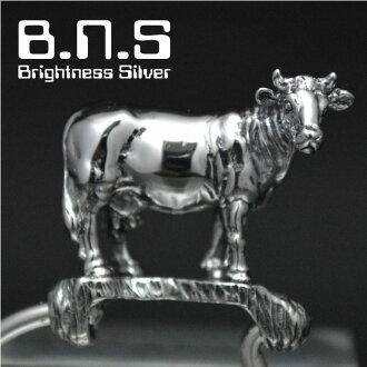 银的牛,牛键环银制造(银子925)Silver925(钥匙圈,键链子,钥匙,牧场,ushi,牧场,Holstein,动物)