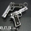高品質 M1911A1 ガバメントピストルペンダント 木製ウッドグリップ シルバー925 (武器 拳銃)