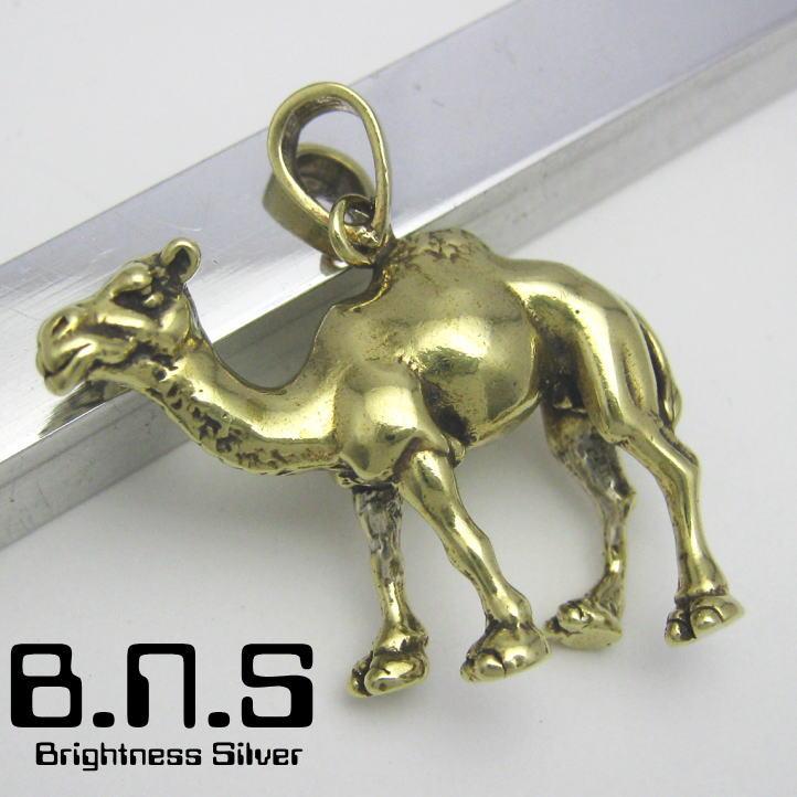 金色の駱駝 ヒトコブラクダペンダント 真鍮 ブラス brass (ネックレス、ラクダ、らくだ、キャメル、camel、Camelus dromedarius、動物)