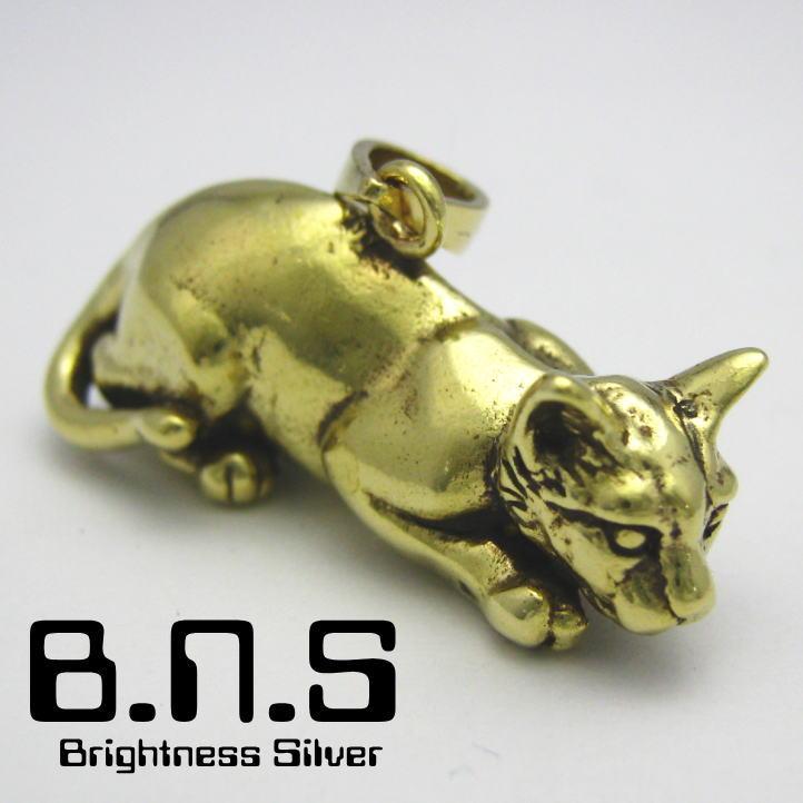 ネコペンダント ブラス 真鍮 (ネックレス、ねこ、猫、キャット、CAT、動物)