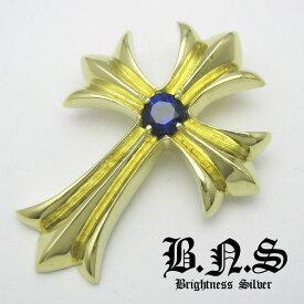 サファイアゴールドゴシッククロスペンダント ブルー青 真鍮 ブラス 人工サファイア