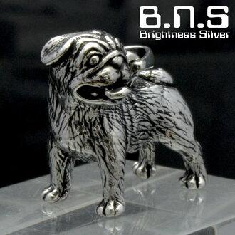pagupendanto银制造银子925(项链,狗,狗,Dog,Pug,动物)