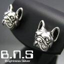 銀の犬 フレンチブルドッグピアス 片方販売 シルバー925 (bulldog、犬、ドッグ、Dog、動物)