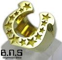 ゴールドホースシューリング ブラス 真鍮 (メンズ レディース 指輪馬蹄 蹄鉄 金色 ゴールド)