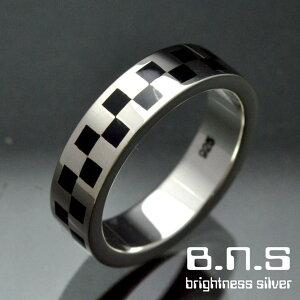 市松模様、チェッカーリング シルバー925 (男性用 女性用 メンズ レディース シンプル 平打ち 指輪 チェック 和柄 銀)