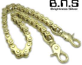 ゴールドバイクチェーンウォレットチェーン L 51cm マシンチェーン ブラス 真鍮(ドライブチェーン ローラーチェーン 駆動チェーン、バイク、オートバイ、単車、自転車)