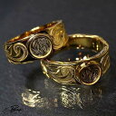ハワイアンジュエリー ペア リング K24 純金 コーティング 指輪 ラウンド プレミアム プレゼント 記念日 Surgical Sta…